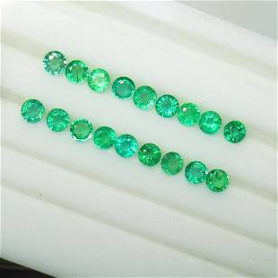 3.83 Ctw Natural 18 Zambian Emerald Round Set