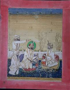 antique Sikh school miniature painting 19th C