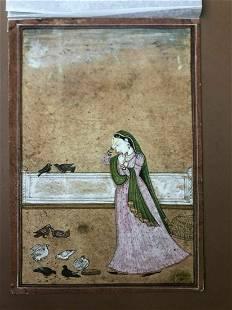 antique Kangra mughal miniature painting depecting