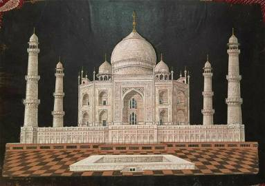 antique painting of architectural view of mughal's Taj