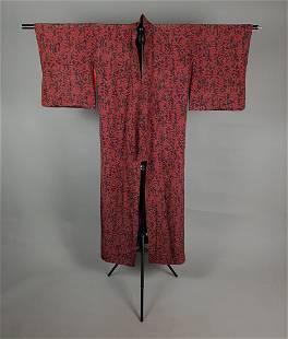 RED & BLACK FORAL LINEN KIMONO
