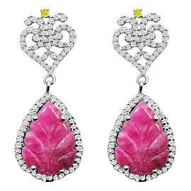 12.70 Ctw Pear Red Ruby Sterling Silver Dangle Earrings