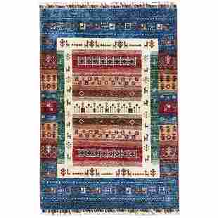 Red Super Kazak Khorjin With Kashkuli Design Wool Hand
