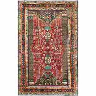 Colorful Semi Modern Persian Shiraz Hand Knotted