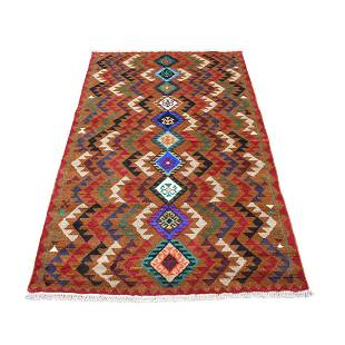 Brown Geometric Design Colorful Afghan Baluch Hand