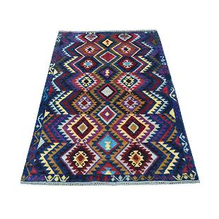 Blue Tribal Design Colorful Afghan Baluch Hand Knotted