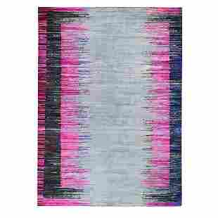 Erased Horizontal Line Design Pink Sari Silk With