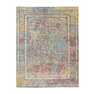 Pastels Silk With Textured Wool Erased Persian Design