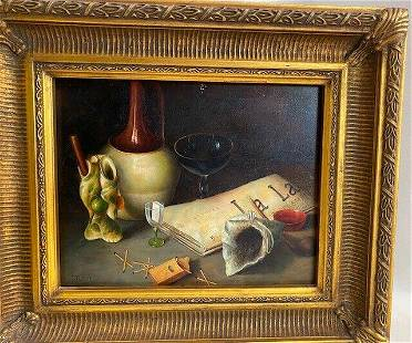 """Vintage Oil panting on wood """"Still life with glass,"""