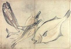"""Anonymous: """"A Shoal of Fishes"""" - Japanese ink drawing"""