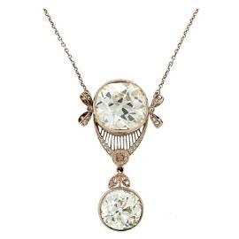 Victorian c1900s Diamond Platinum Pendant Necklace