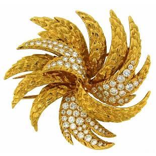 1980s Cartier Diamond Gold Pin Brooch Clip