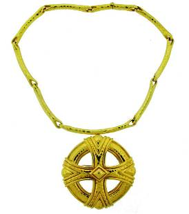ANDREW CLUNN Yellow Gold NECKLACE PENDANT PIN BROOCH