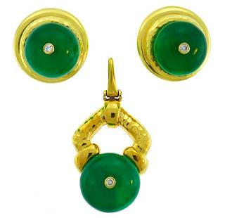 ANDREW CLUNN Yellow Gold EARRINGS PENDANT SET with