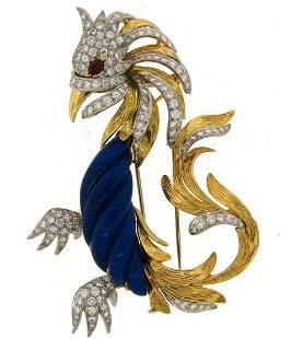 MARCHAK Fire Bird Pin BROOCH Clip Lapis Lazuli Ruby