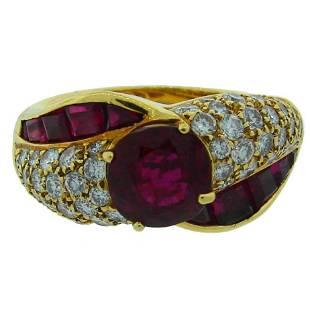 Vintage GRAFF Ruby Diamond 18k Yellow Gold Ring 2.06