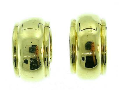 18k Yellow Gold Shell Hoops Tiffany Earrings