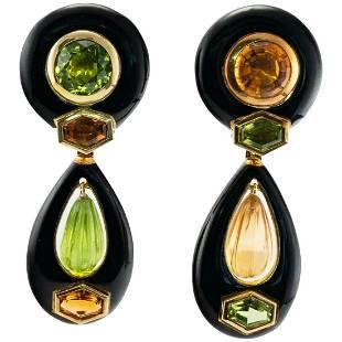Sabbadini Onyx Peridot Citrine Earrings 18K Gold Dangle
