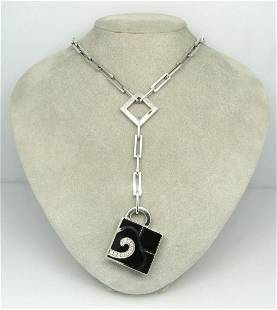 NOUVELLE BAGUE Diamond Black Enamel 18k White Gold