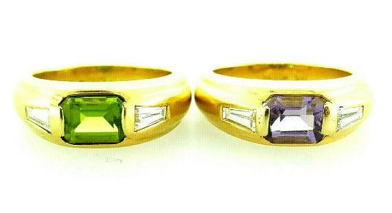 A pair of Pepi 18k Yellow Gold Amethyst Tourmaline