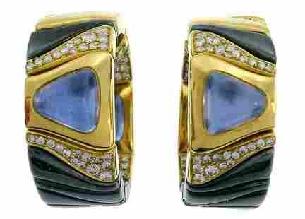 MARINA B Enamel Yellow Gold Hoop EARRINGS with Blue