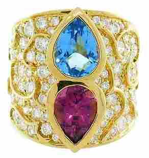 MARINA B Yellow Gold RING with Blue Topaz Tourmaline
