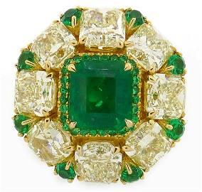 2.24-ct Emerald 8.28cts Diamond Yellow Gold RING