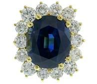 Natural Sapphire Diamond Gold RING 15.02 Carat No