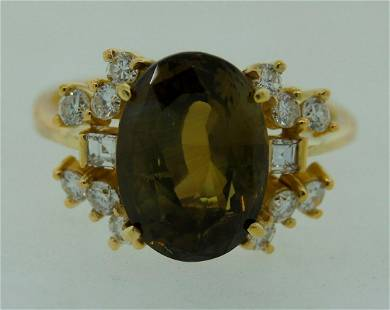 1980s 4.62-ct AFRICAN ALEXANDRITE DIAMOND YELLOW GOLD