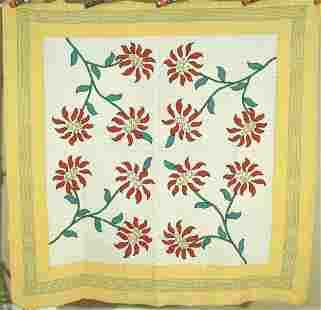 40's Poinsettia Applique Quilt