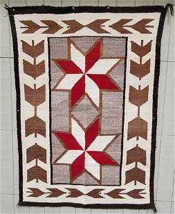 Navajo double Valero stars rug ca 1930's