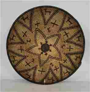 Fine Apache woven basket with dogs and crosses ca