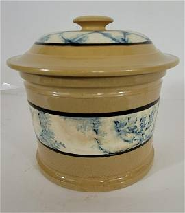 Yellow ware mocha butter tub with lid ca 1850