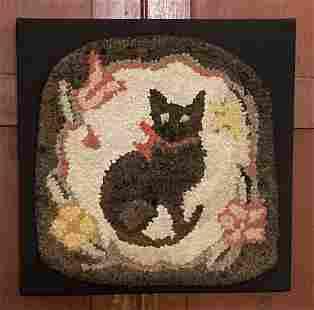 C1920 black cat folk art hooked mat