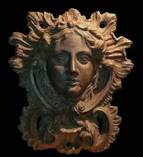 19th c. Neoclassical Iron Head Plaques