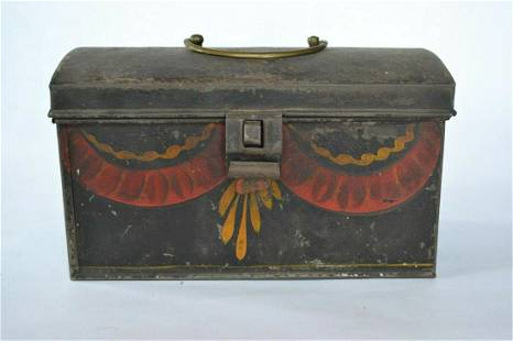 American Painted Tin Dome Lid Box