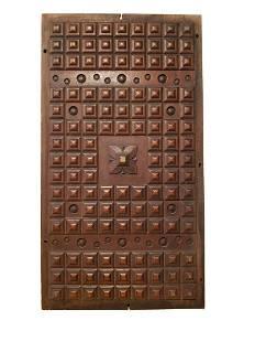 Antique pediment panel walnut mahogany wood geometric