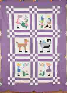 30's Ann Orr Pictorial Mosaic Quilt