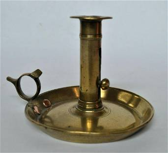 Georgian Brass Saucer Candlestick with Pushup Ejector