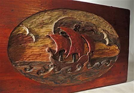 Folk Art Rolling Sea Carving c1900