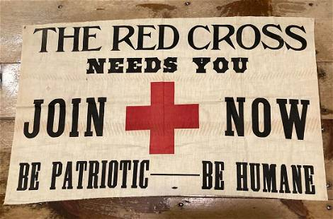 C1940's. Cotton Red Cross recruiting sign