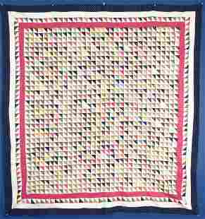 "Antique ""Diagonal Triangles"" Cotton Quilt Top, c.1880"