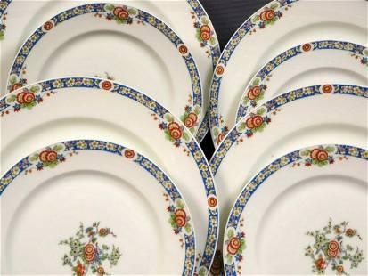 LIMOGES France Blue Rim Red Flowers DINNER SET Plates