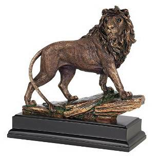 Vintage royal lion sculpture statuette bronze metal