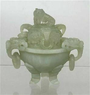 Vintage jade Censer Foo Dogs Elephants Bowl burner