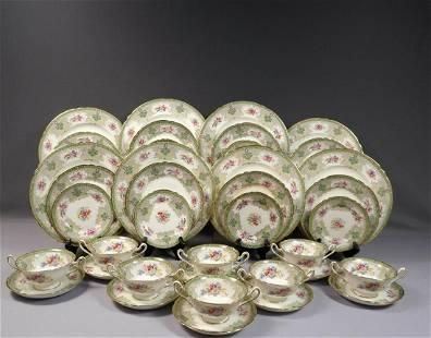 Shelley Georgian Green Dinner Set Plate Cream Soup Bowl