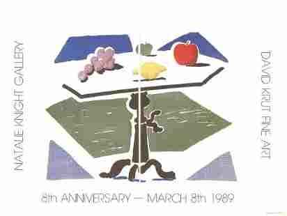 David Hockney - Apple, Grapes, Lemon on a Table - 1989