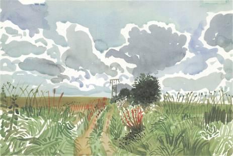 David Hockney - Cart Track and Pylon - 2014 Offset