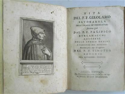 1761 LIFE of GIROLAMO SAVONAROLA Jesuit ANTIQUE 18th