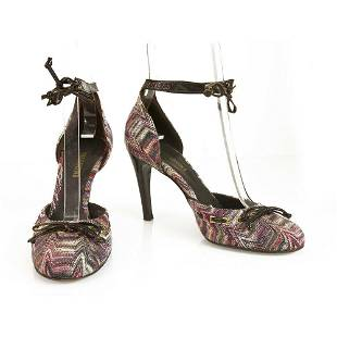 Missoni Purple Hues Fabric Brown Patent Leather Ankle